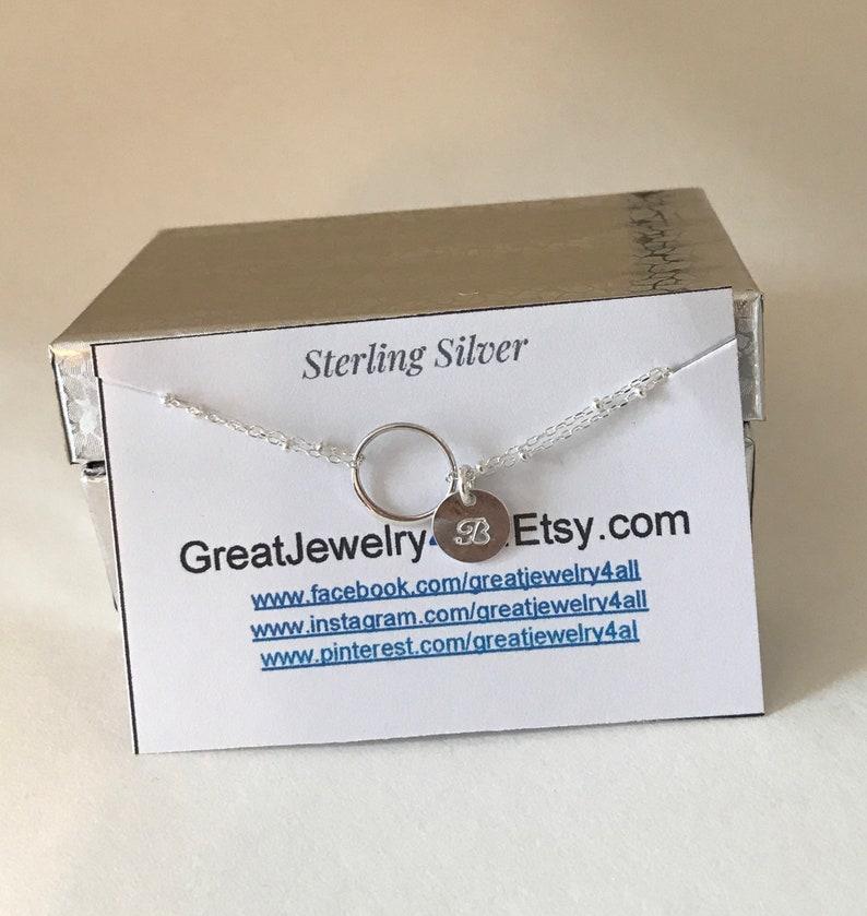 sister gift bridesmaid gift initial bracelet Infinity Bracelet Sterling Silver Circle Bracelet Eternity, gift for mom,Gift For Friend