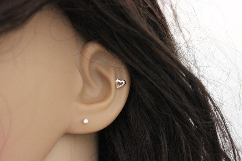 902d9ee0f Sterling Silver heart cartilage earring heart stud earring   Etsy