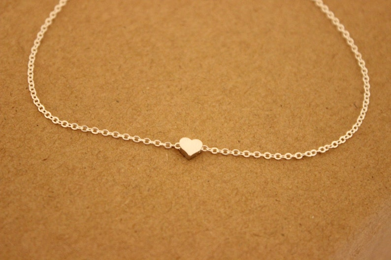 Tiny heart Anklet Delicate anklet dainry anklet thin gold image 0