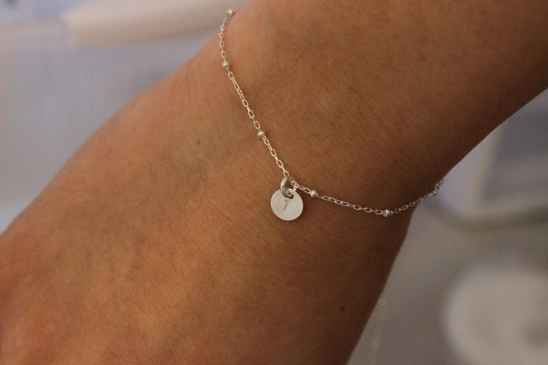 tiny disc delicate bracelet monogram bridesmaid gift two initials tiny bracalet Tiny initial bracelet sterling silver bracelet