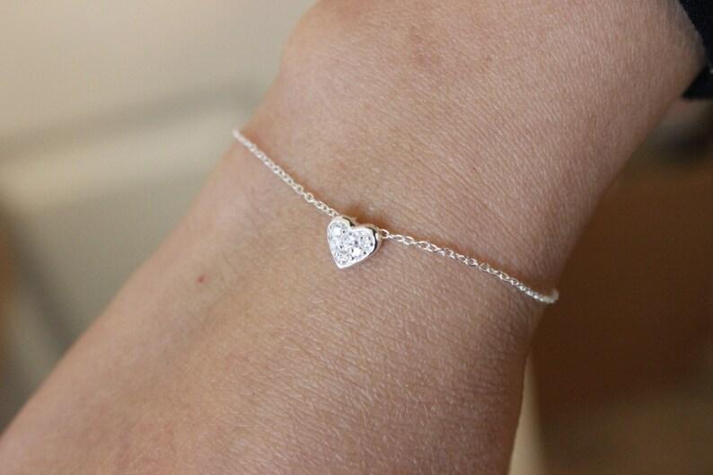 bridesmaid gift sterling silver bracelet silver bracelet dainty bracelet delicate bracelet Tiny heart bracelet children bracelet