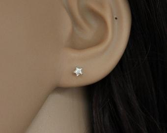 Sterling silver 3mm CZ Star Stud Earrings, Tiny Stud Earrings, Star Earrings, Tiny CZ Earrings, Dainty Earrings, Teeny Tiny Stud.