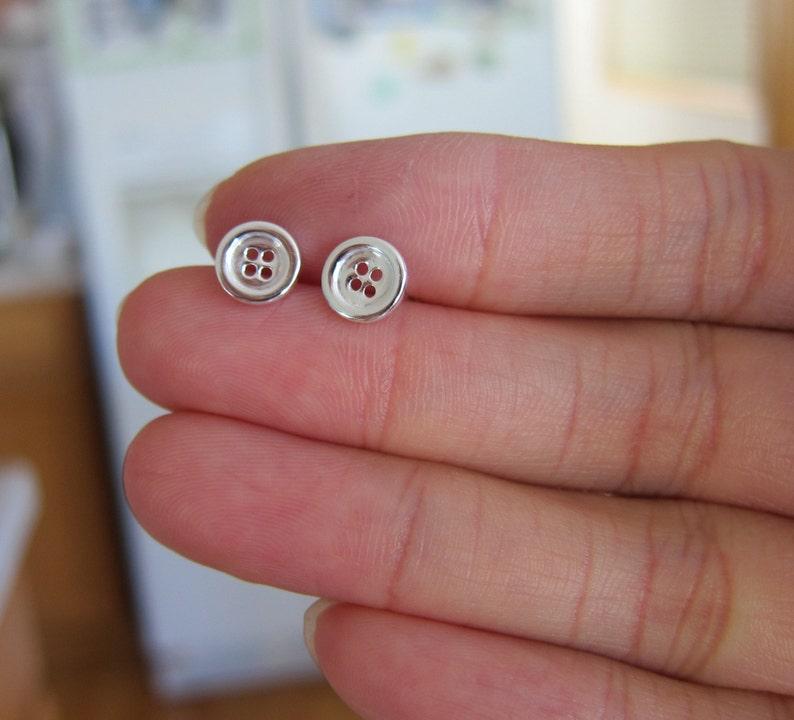 cf2c56b15 Sterling Silver Button Stud Earrings tiny Stud Earrings | Etsy