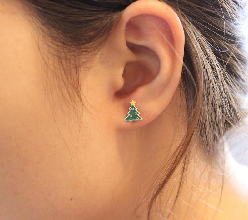 632b4a5ac034b Christmas tree Stud Earrings, Sterling silver stud earrings, Fir Tree  earrings, Christmas Gift, gift for children, tiny stud earrings