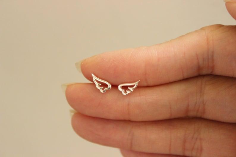 ca9d41f6a Sterling Silver Wing Stud Earrings Wing Earrings Wing | Etsy