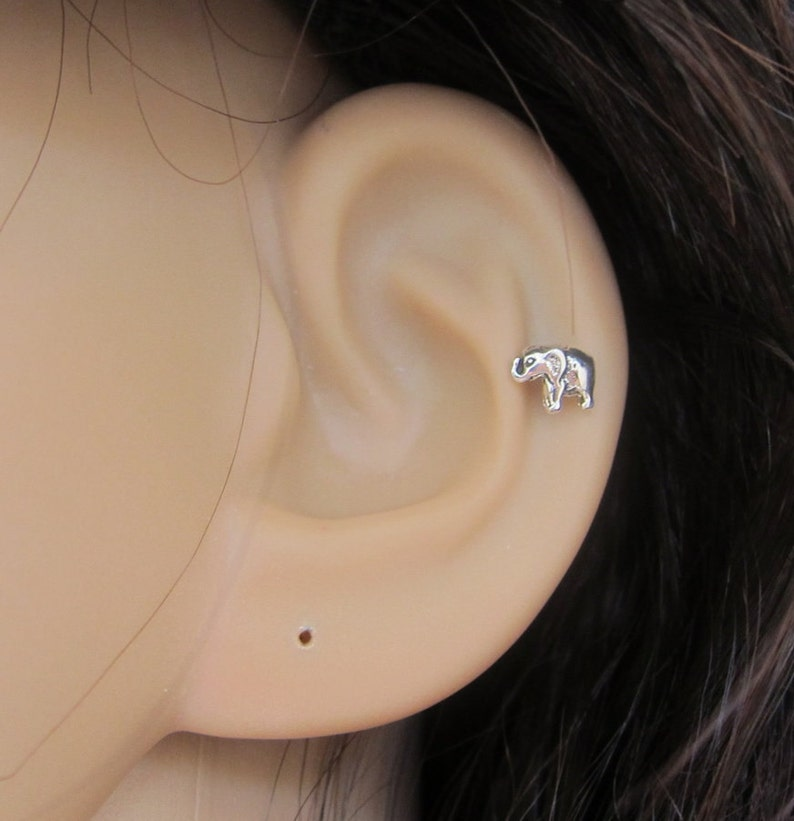 ce0d4f45a Tiny Baby Elephant Cartilage Earring Elephant Tragus earring | Etsy