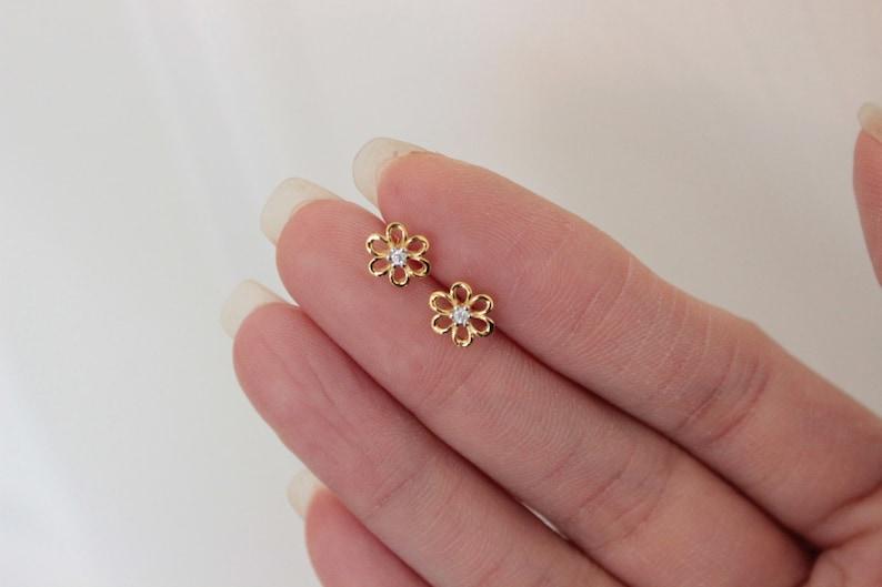cd9b0be8b Flower Stud Earrings tiny gold studs dainty stud earrings   Etsy