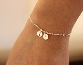 Two intial bracelet, Tiny initials bracelet, personalized bracelet, delicate bracelet , dainty bracelet, silver bracelet, simple,