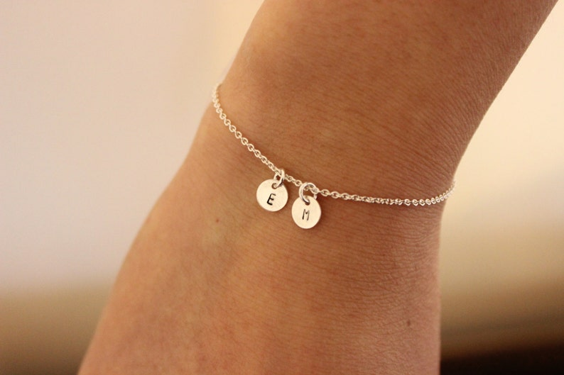 Two intial bracelet Tiny initials bracelet personalized image 0