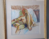 REDUCED FREE SHIPPING 1960 39 s Artist Signed Katthoff Original Expressionism Semi-Nude Male Colored Pencil Drawing Framed Under Glass