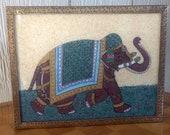 Vintage India Sheesham Wood and Brass Trim with Inlaid Gemstone Elephant Trinket Dresser Jewelry Box