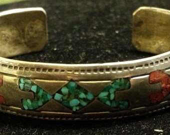 Vintage Native American Artist Signed Sterling Silver with Inlaid Turquoise and Coral Cuff Bracelet
