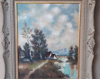 Vintage Listed Artist Horst Hoppman Oil on Canvas Country Farm House Scene  Impressionism Painting