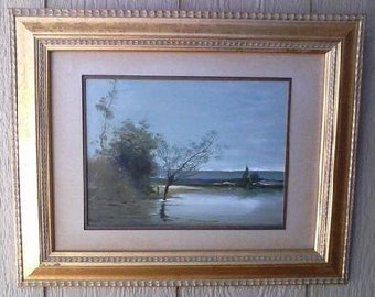 Vintage Original Oil on Board Panel Lake View Scene Impressionism Painting Signed Listed Illinois Artist Martin Pribil reduced