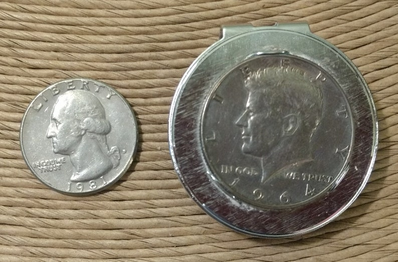 Vintage 1964 John F Kennedy 90% Silver Half Dollar Anson Silver Toned Money  Clip - Father's Day Gift