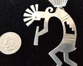 Vintage Large Native American Kokapelli Sterling Silver Necklace Pendant - Weighs 22.4 grams