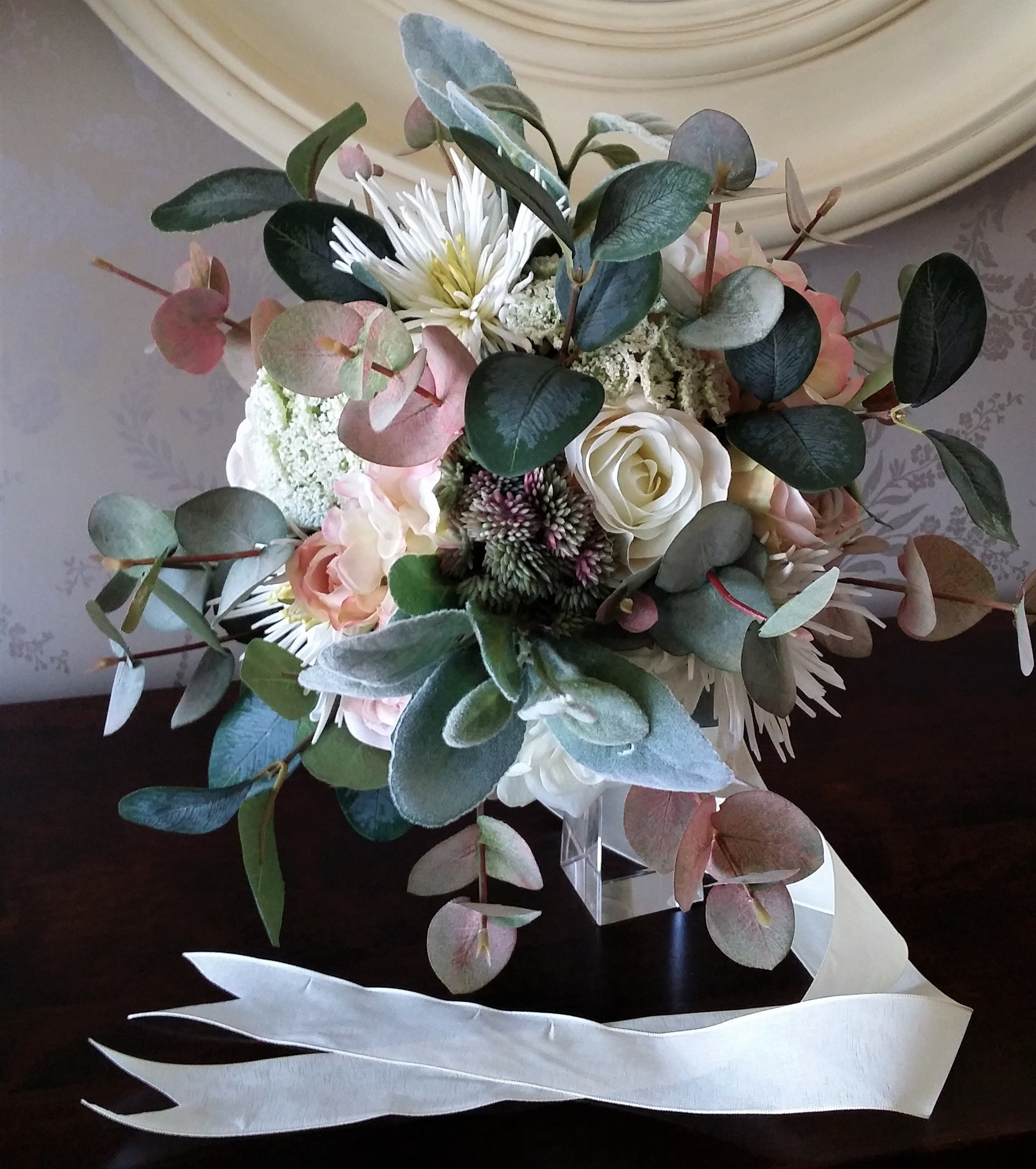 Brides Boho Blush Pink & Ivory Foliage Wedding Bouquet Hand Tied Cascading  Artificial Silk Faux Flowers