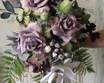 Brides Large Hand Tied Cascading Silk Wedding Bouquet Flowers Mauve Burgundy Ivory Artificial