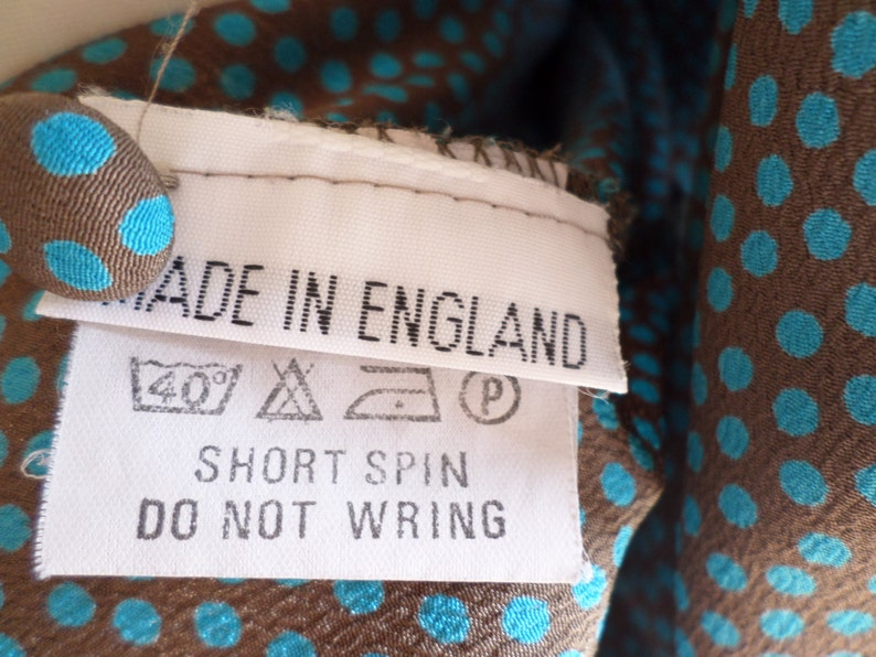 Vintage 1940s style Blouse Brown /& Teal Colour  Made In England