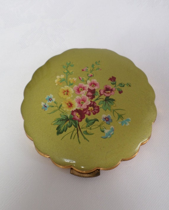 Mascot compact with sifter /& original labels Vintage convertible compact Blue floral porcelain top