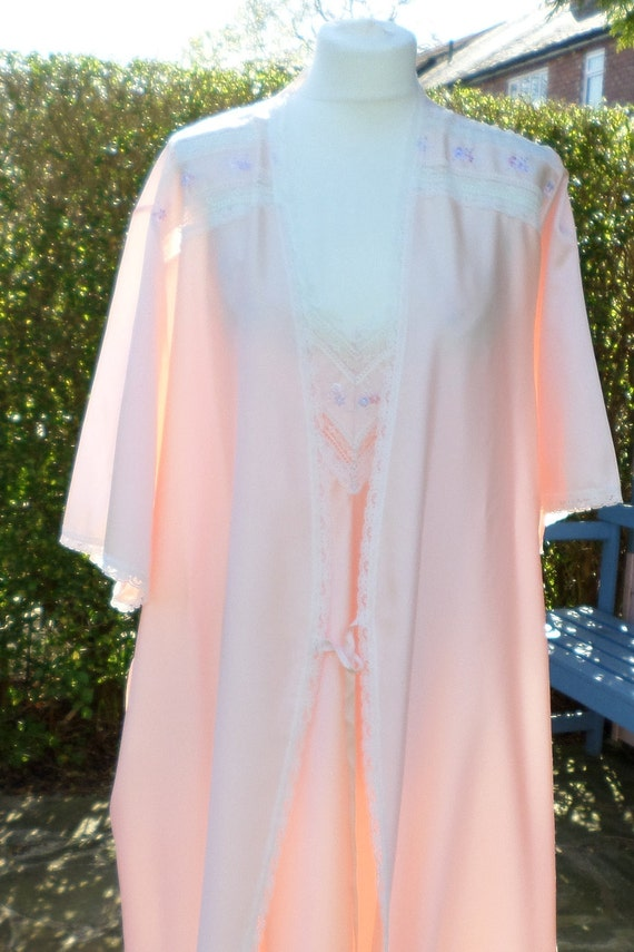 St Michael dressing gown & nightie matching set colour Peach | Etsy