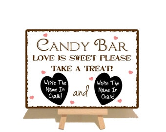 Wedding Candy Bar Metal Sign Plaque With Blackboard (Chalkboard) Hearts For Personalisation With Chalk & Wooden Easel