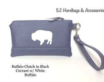 Buffalo Clutch/Wristlet/Purse in Black Currant with White Buffalo