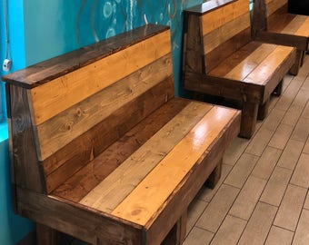 The Maggie Series Small Bench - 4' foot rustic barnwood or pallet look bench  Great for restaurant booth