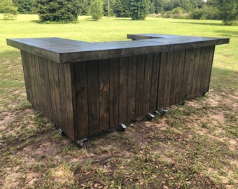 The Big Old Ebony  - 6 x 10 x 6 Stained Barn Wood look rustic wood outdoor patio bar