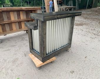 Hello Shiny Ebony - 2 level rustic style corrugated metal/wood reception desk, sales counter or bar
