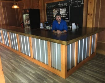 The Hustler - 20' Rustic Corrugated  V-5 metal bar, sales counter, reception desk, available stained in your choice if color