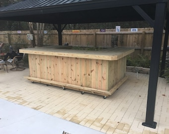 Ultimate U Shape - 6 x 10 x6 Rustic style real pressure treated wood outdoor or indoor patio bar