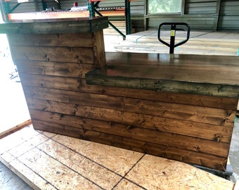 The LaMont Provincial/Ebony top - 7' Pallet style rustic reception desk, bar  or sales counter