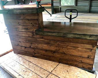 The Ebony and Provincial  LaMont - 7' Pallet style rustic reception desk, bar  or sales counter