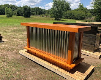 The Redwood Terra Cotta  - 6' Wood and corrugated Metal Rustic Outdoor Patio Bar with footrail and mini fridge space