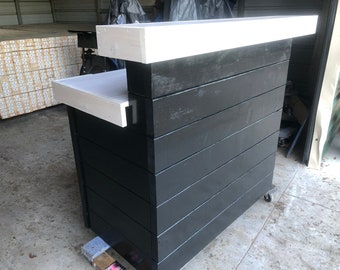 Hello Shabby Black/White - 4' Shabby Chic Rustic Barn Wood Style, Pallet Style 2 level Reception desk, ship 350