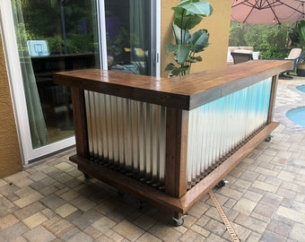 Walnut L shaped Kitchen - 8' x 6' 2 level L shaped rustic wood and corrugated metal outdoor patio bar