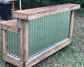 The Coffee Desk - 6' foot 2 level mobile corrugated metal reception desk, with cash box area, and shelves