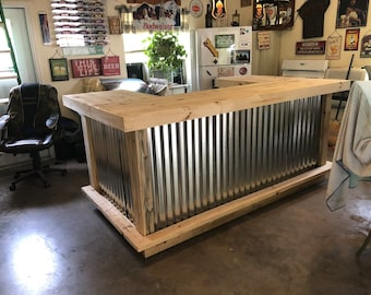 Custom Metal Mini Mega Bar . 4x8x4 Espresso finish wood  and corrugated metal bar, 2 shelves, no footrail