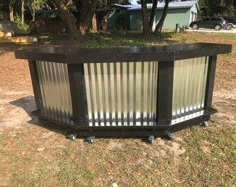 The Silver and Black Angle - 8' 3  level angled corrugated metal and wood outdoor bar or reception desk with casters & footrail