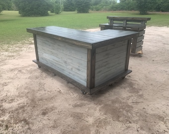 Shabby Deluxe Horizontal L Shape - 7 x 4.5 Rustic real wood barn wood style, pallet style outdoor covered or indoor home bar