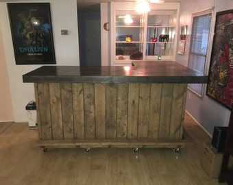 The Carolina L - 7' x 4.5' rustic or industrial indoor dry bar stained pallet style.  Made with real wood