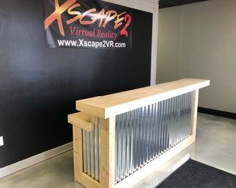 The Nebraska - 8' 2 level corrugated metal and birch Reception Desk