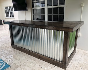The Espresso Beach Bar- 7 x 4.5 Wood and corrugated Metal indior or outdoor patio bar