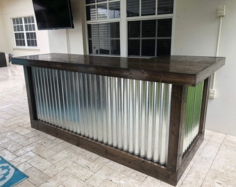 Espresso Beach Bar- 7 x 4.5 rustic style corrugated metal/wood outdoor covered or indoor bar