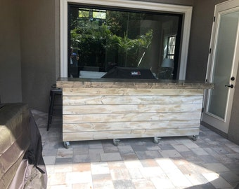 The Outdoor Shabby - 8 foot Shabby Chic Rustic Barn Wood or Pallet Style 2 level Outdoor Patio Bar w/locking casters