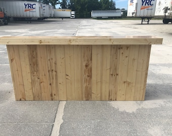 The Finished Buffet - 8' 2 level Pine and Birch pallet style reception desk, sales counter or bar
