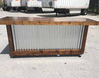 The Provincial - 8 foot mobile corrugated metal bar, sales counter, reception desk