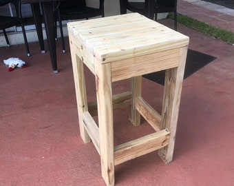 Exterior Backless Bar Stool - Durable Rustic outdoor Bar stools, hand made with exterior treated lumber