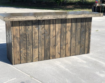 The Plain Old Ebony - 8 foot rustic barn wood or pallet look bar, retail sales counter or reception desk